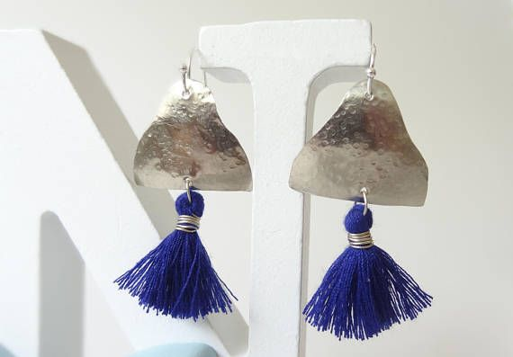Silver Earrings Blue Earrings Hammered Silver Hammered