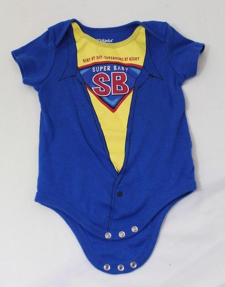 "Kidgets Infant Boy ""Super Baby"" Bodysuit Top Size 6/9 Months Blue Yellow #Kidgets #EverydayHoliday"