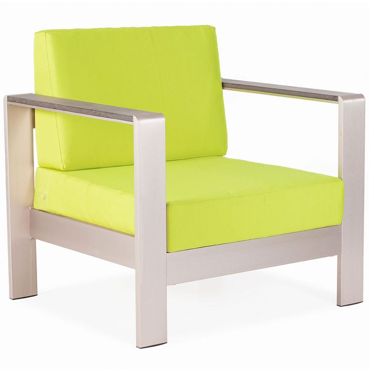 Mod Aluminum Outdoor Arm Chair U2014 Lime Green Cushions (Set Of 2)