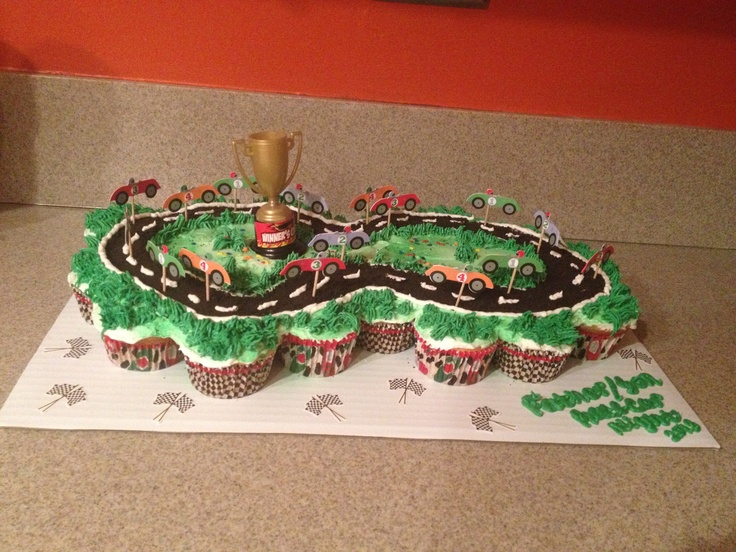race car birthday cake race car pull apart cupcake cake for 6938