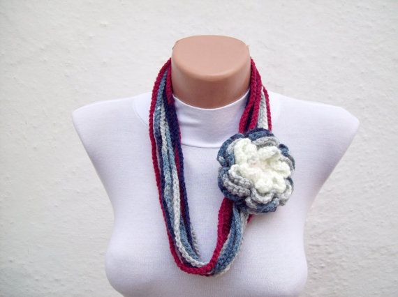 Removeable Brooch Pin  Hand crochet Lariat Scarf Grey  by nurlu, $16.00