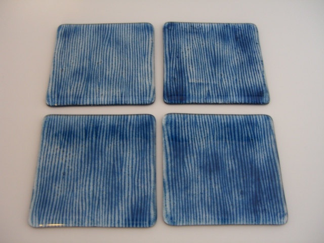 Fused Glass Blue Striped Coasters. $25.00, via Etsy.