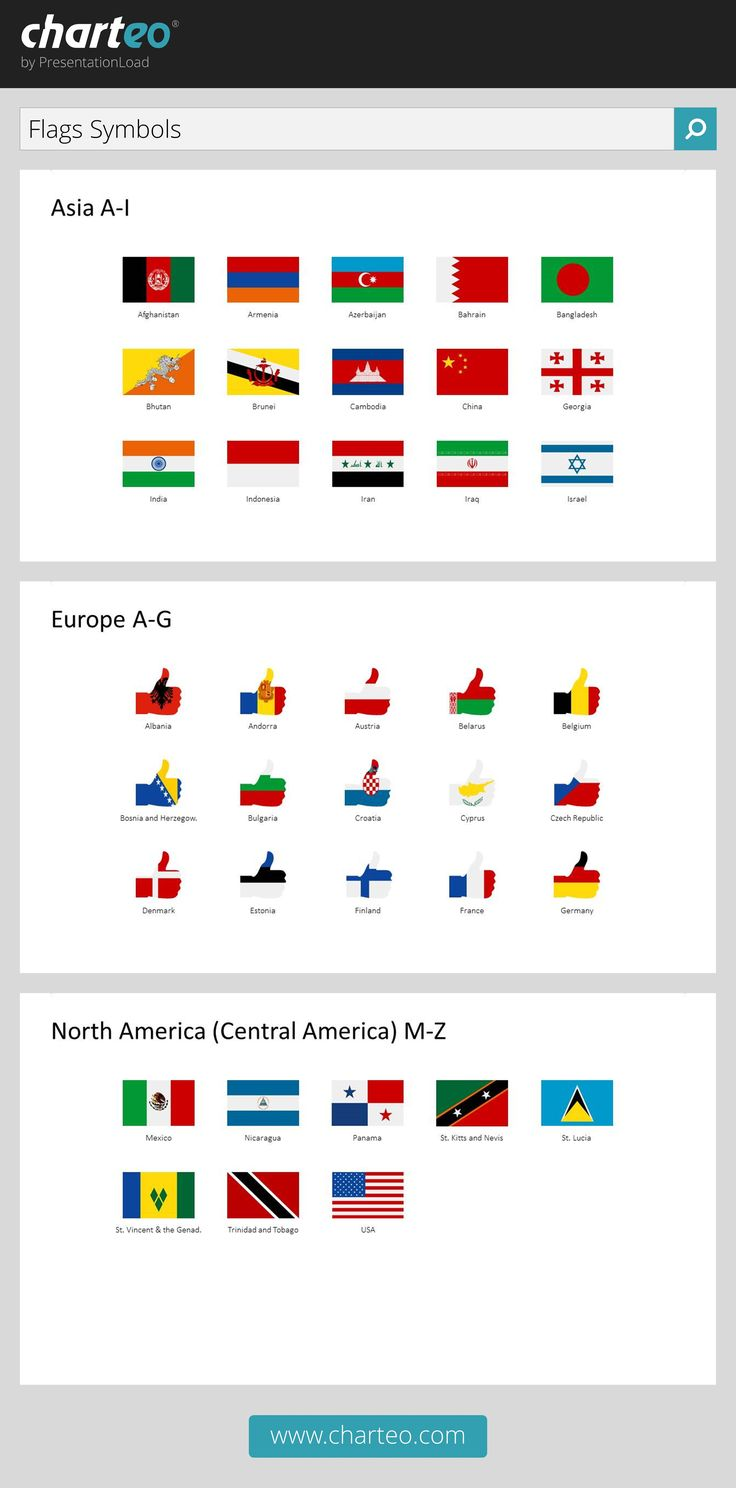 Visualize your presentation on international business with our flag symbols.