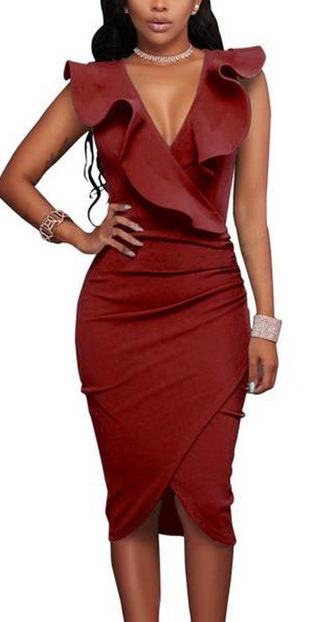 Deep V-neck Ruffles Irregular Pure Color Knee-length Dress