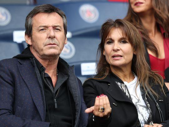 Jean Luc Reichmann et sa femme Nathalie au Parc des Princes à Paris le 1er octobre 2016.