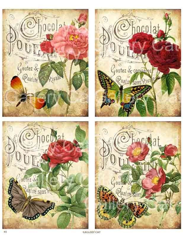Antique Roses on Old French Paper Digital Collage Sheet Printable Download Original Whimsical Altered Art by GalleryCat CS2 vintage rose french advertisement shabby chic butterfly botanical garden greeting card print it yourself handmade victorian graphics label gift tag journaling instant download GalleryCat 3.70 USD