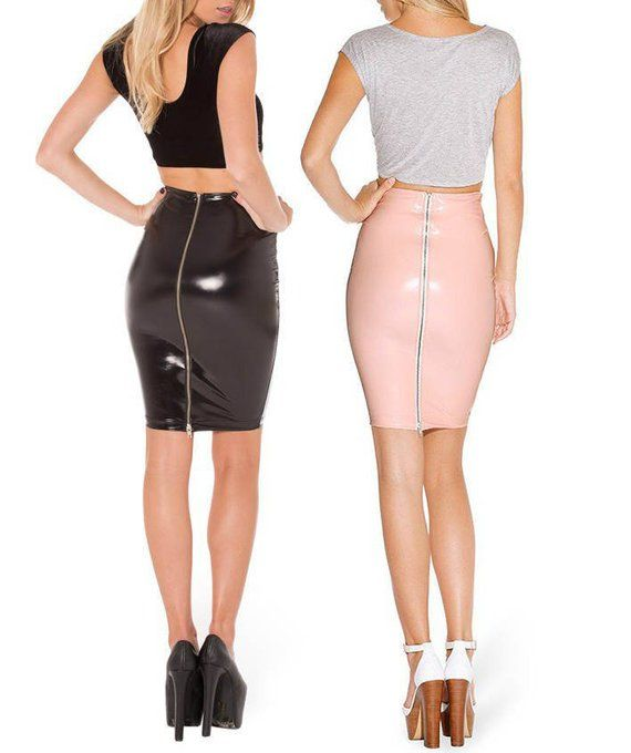 0c1bc0547bd PVC Vinyl Pencil Skirt with 2-way Zip - Leather