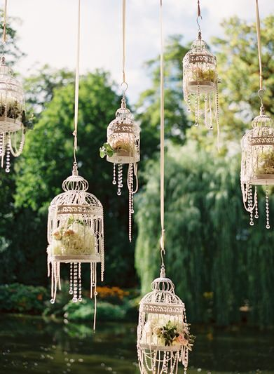 Hanging birdcage Decor with crystal strands