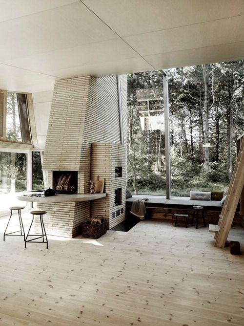 Big Windows, Fireplaces, Modern Cabin, Interiors Design, Living Room, Painting Studio, Rustic Modern, Design Home, Modern Interiors