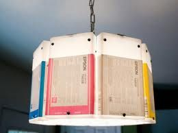 A lamp, made from used printer ink cartridges.  Please remember to recycle your used ink cartridges!
