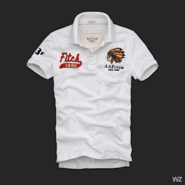 Abercrombie Fitch Mens Logo Printed Polo T-shirts White on sale