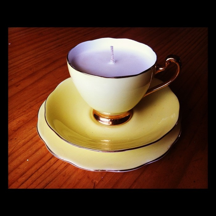 vintage tea cup trio candle filled with Angel scented soy - by scout.vintage.candles on madeit