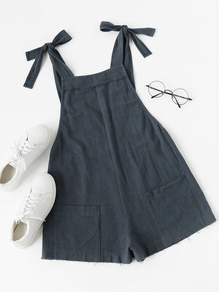 Jumpsuits by BORNTOWEAR. Self Tie Raw Hem Pinafore Romper