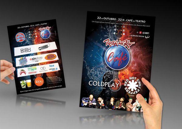 Material gráfico desenvolvido para eventos no bar Café do Teatro.
