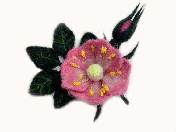 Needle felted rose brooch pin wool flower brooch pin by Mriya