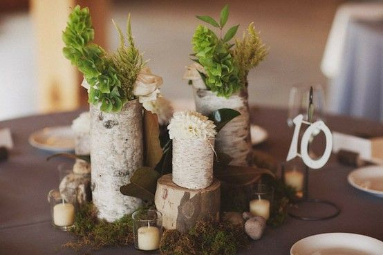 Birch wood moss wedding table decor centerpieces