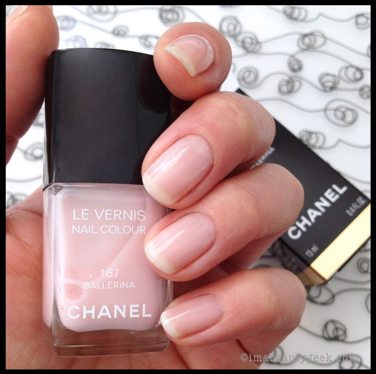 Chanel Ballerina (167) nail polish. Pinky beige with orange undertones for a nude nail.