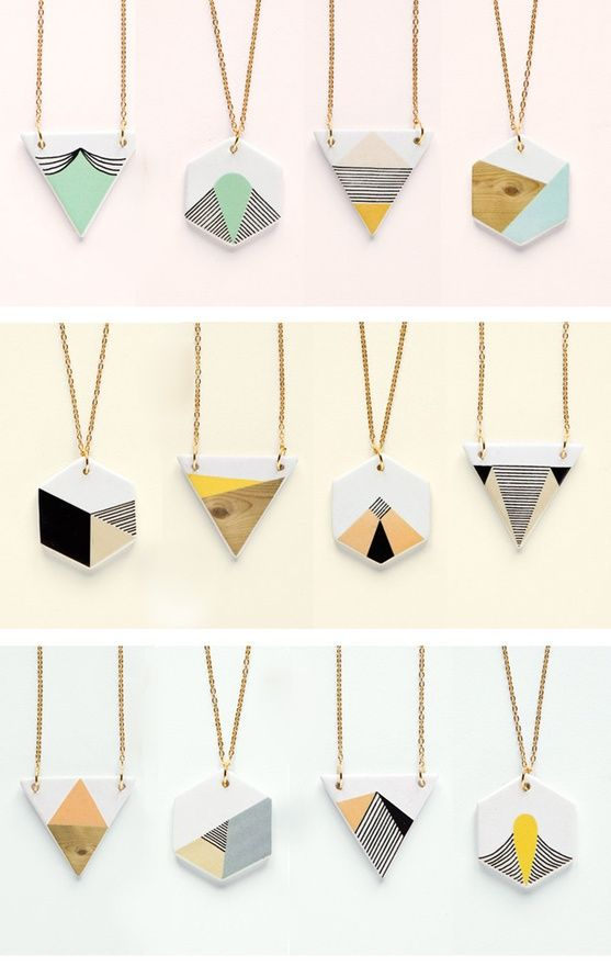 pastel / geometric / ceramic necklaces