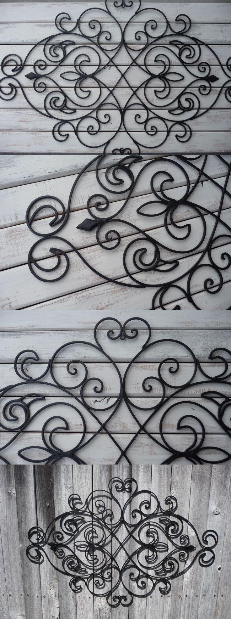 Home Decor: Wrought Iron Wall Decor ~ Bedroom Headboard ~ Black ~ Fleur De Lis ~ Shabby Chic BUY IT NOW ONLY: $44.99