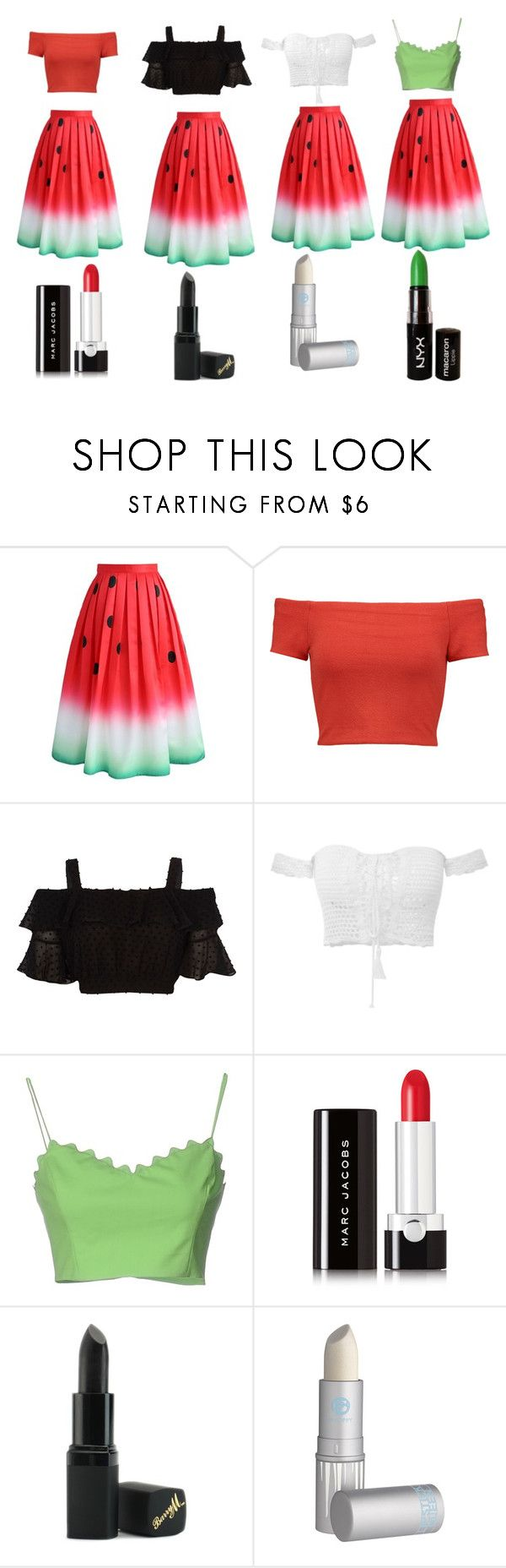 """Watermelon outfit  which one does it match better?"" by emilyg-5 ❤ liked on Polyvore featuring Chicwish, Alice + Olivia, Moschino Cheap & Chic, Marc Jacobs, Barry M, Lipstick Queen and NYX"