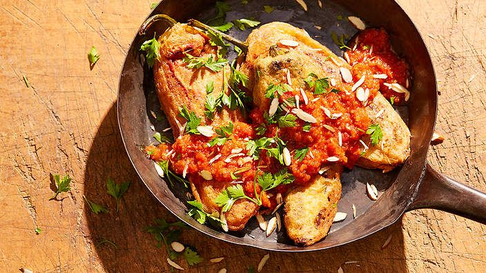 Roasted pepper stuffed with pork, almonds and spices (chile relleno de picadillo). This Mexican recipe shows the Moorish influence on Spanish cuisine.