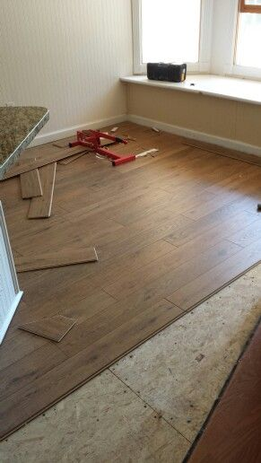 Pergo nashville oak farmhouse dining room in progress for Pergo flooring trim