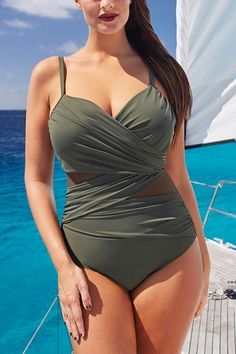 The 21 Best Plus-Size Swimsuits to Wear This Summer - Best Slimming Suit by Tropiculture from InStyle.com Plus size women fasion moda dress clothe Swimwear Tops Bottoms