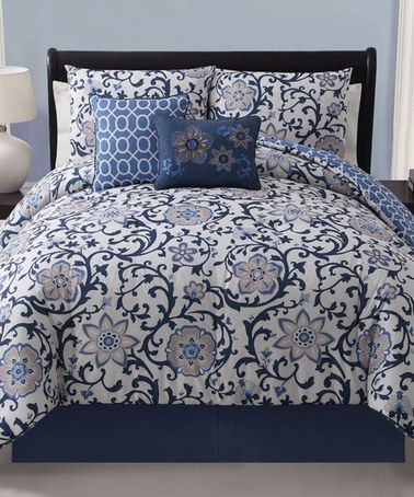 Take a look at this Blue Calista Reversible Comforter Set by Victoria Classics on #zulily today!