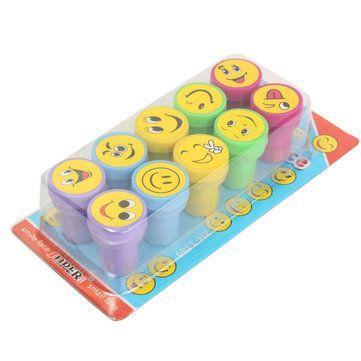 Só R$8.32, compra melhor 10pcs emoji sorrir selos cara boba papelaria definido para a festa de crianças presente venda loja online a preço de atacado.US / EU armazém.
