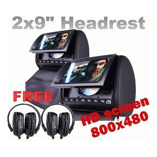 """Headrest 2 X 9"""" HD Car Monitor Pillow 2 DVD Player GAME"""