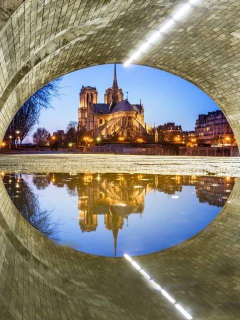 Notre Dame Cathedral reflected in a puddle under Ponte de la Tournelle, Paris