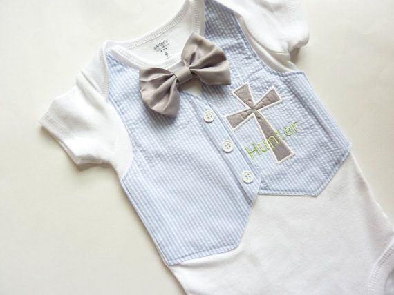 Personalized Light Blue Seersucker Baptism, Christening, and Dedication Onesie with Matching Removable Bow Tie on Etsy, $33.00
