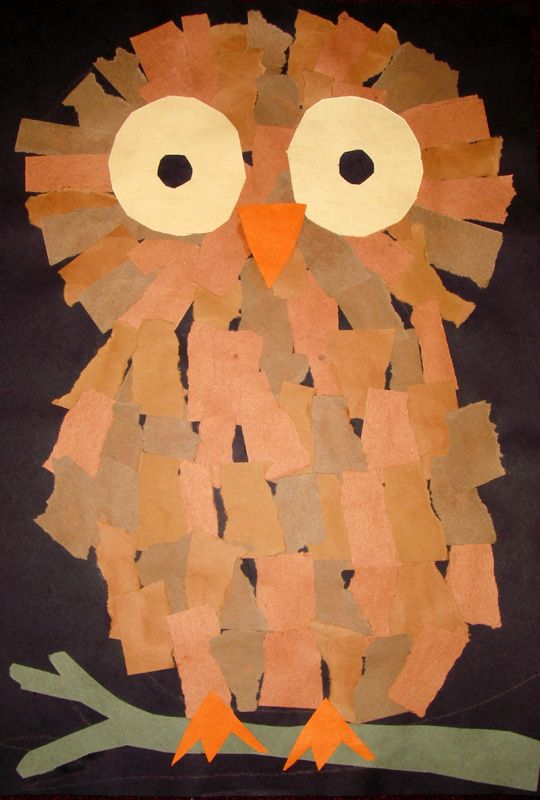 Tissue paper owls, could make with tear construction paper