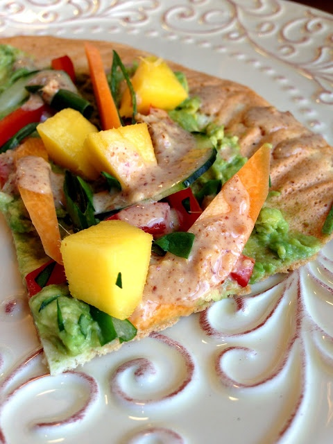 Mango Avocado Flatbread w/ Sweet & Tangy Almond Butter Drizzle! Gluten Free, Vegan, Body Ecology Diet, Specific Carb Diet SCD Friendly, Paleo glutenfreehappytummy