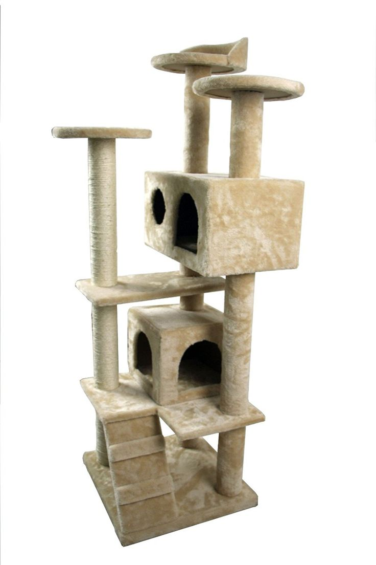 iSonee 50' Cat Tree Tower Condo Furniture Scratch Post Kitty Pet House Play Furniture Sisal Pole and Stairs (Beige) -- You can get additional details at the image link. (This is an affiliate link and I receive a commission for the sales)