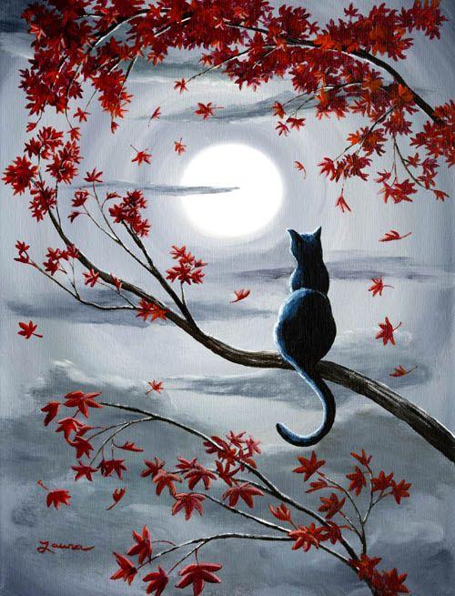 Black Cat in Silvery Moonlight Original Acrylic Painting