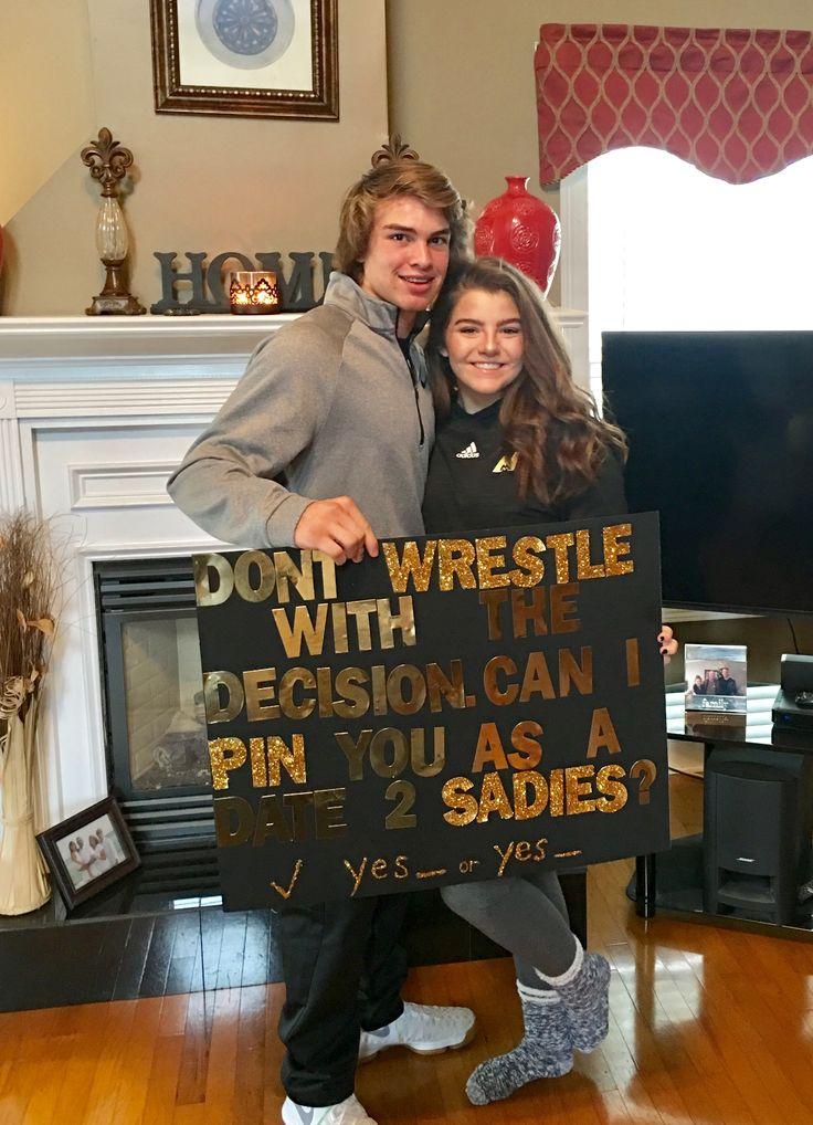 Sadie Hawkins dance proposal for wrestler boyfriend.