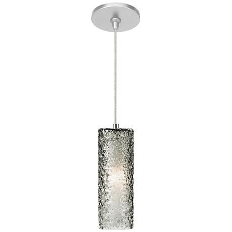 Complete with a satin nickel finish and edgy smoke glass shade, LBL Lighting's Mini-Rock Candy LED mini pendant is perfect when placed over a marble kitchen island.