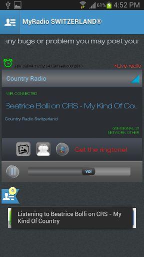 Intelligente App_Android Smartphones mit MyRadio SCHWEIZ: * 24/7 Music Marathon mit Live-Streaming. * Erleben Sie spannende Unterhaltung über ChatRoom auf Twitter, Facebook & Youtube. * Liebe diesen Song? Great! Sie können dieses Lied als Klingelton downloaden GRATIS https://play.google.com/store/apps/details?id=net.ramglobal.myradioswitzerland