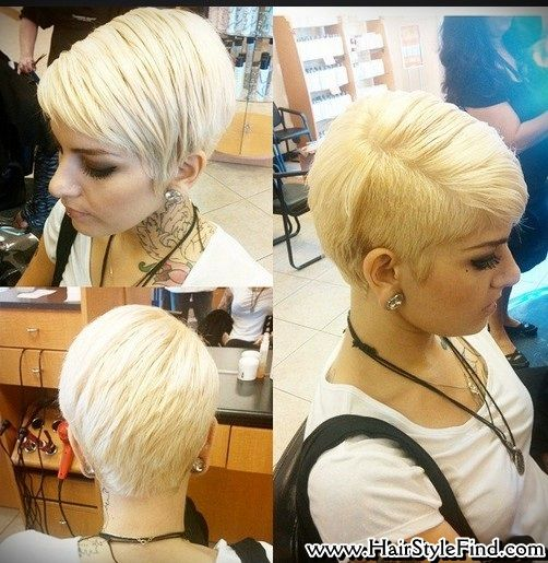 Pixie Haircut With One Side Shaved Layered Straight Short