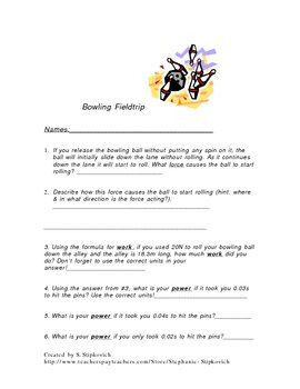 Bowling Force, Power & Work Field Trip | RSO Physics 1 | Pinterest ...