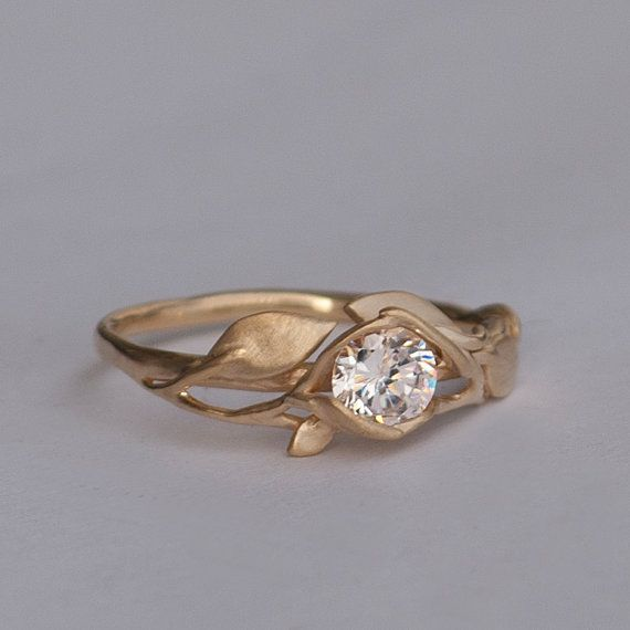 Leaves Engagement Ring No. 6 - 14K Gold and Diamond engagement ring, engagement ring, leaf ring, filigree, antique, art nouveau, vintage