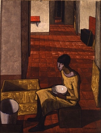 Girl with a bow. Felice Casorati (December 4, 1883 – March 1, 1963) was an Italian painter, sculptor, and printmaker. The paintings for which he is most noted include figure compositions, portraits and still lifes, which are often distinguished by unusual perspective effects.
