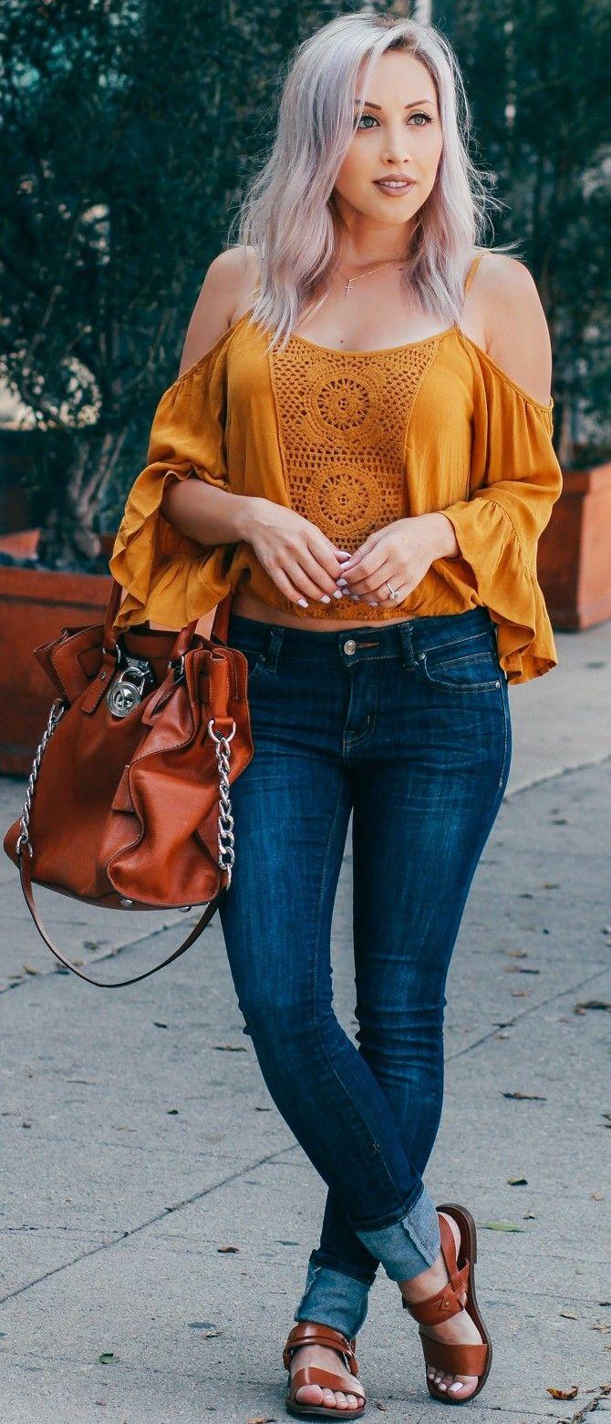 #fall #street #style | Mustard-Yellow Top + Denim