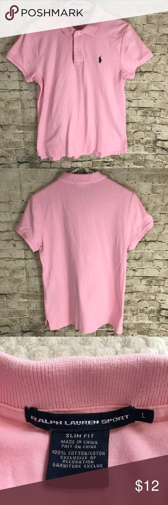 Women's Ralph Lauren Sport Pink Polo Shirt Large You will be purchasing a Women's Ralph Lauren Sport Pink Short Sleeve Shirt  Size Large  - please see photos for measurements to determine fit. It is used. If you have any further questions, please do not hesitate to ask. Thanks for Looking!  Sku# EMP22318 A13-26 Ralph Lauren Tops