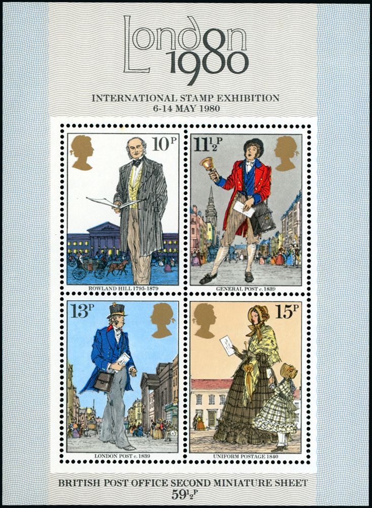 Queen Elizabeth II: 1979 Rowland Hill miniature sheet variety myrtle-green (10p. background, etc.) omitted, very faint tone spot on gum of 10p. value, fine unmounted mint, very rare. S.G. MS1099f, cat. £10,000, EC GBR2198d - 6 known.