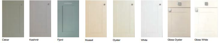 Solent (Colonial Range) choice of colour options.  Soft tones on the Solent vinyl door brings gentle style to any home. Available in the following finishes, White, Fjord, Oyster, Kashmir, Dakar, Mussel, Gloss Oyster, Gloss White.     #FullyFitted #Kitchens #AshgroveHomeImprovements   #Colonial Range  #Doors #Solent