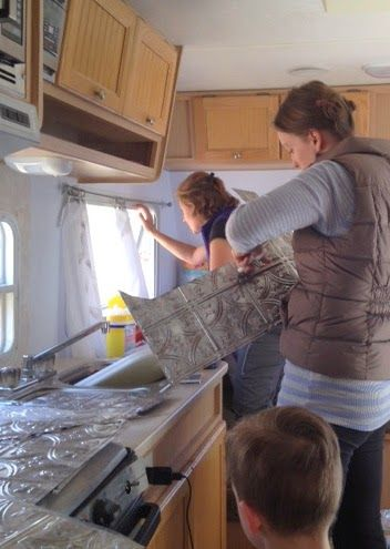 RV KITCHEN REMODEL Travel trailer camper turned glamper renovation :: faux tin panel backsplash application