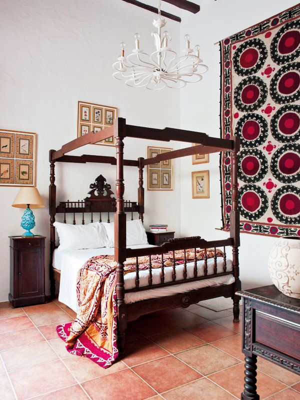Spanish colonial furniture and suzanis mix well in this bedroom. 17 Best ideas about Spanish Bedroom on Pinterest   Spanish style