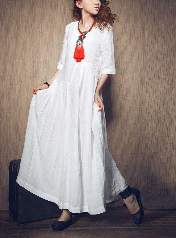 White Dress - Wedding maxi linen dress (Custom Made). $69.00, via Etsy.